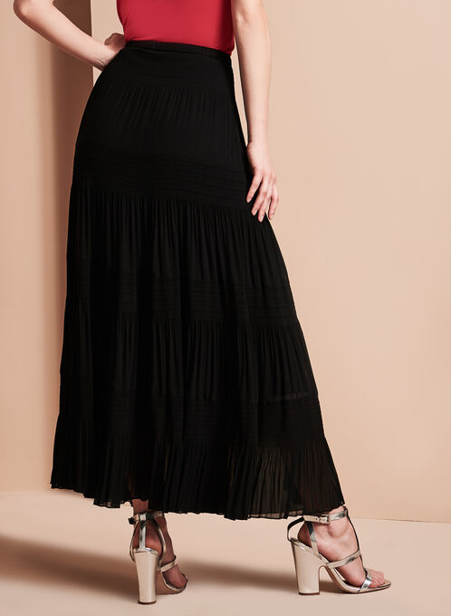 Tiered Maxi Peasant Skirt, Black, hi-res