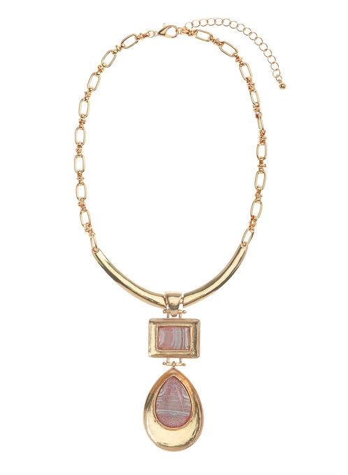 Collier avec pendentif géométrique étagé , Rose, hi-res