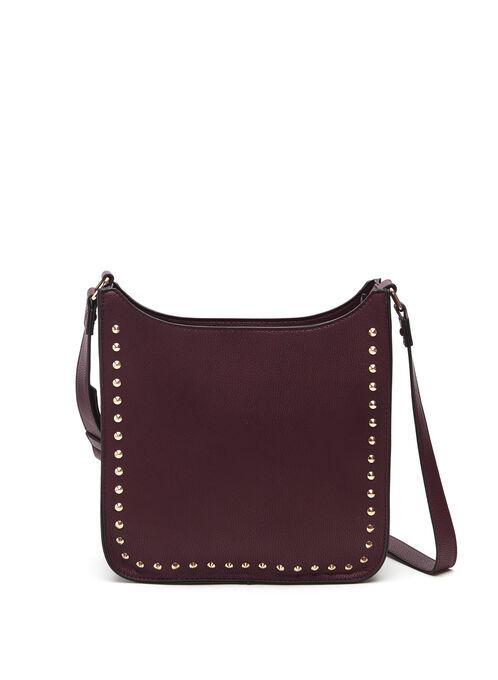 Studded Crossbody Bag, Red, hi-res