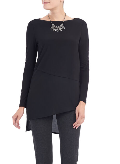 Asymmetrical Crêpe Tunic Top, Black, hi-res