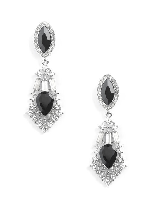 Boucles d'oreille chandelier en crystal, Noir, hi-res