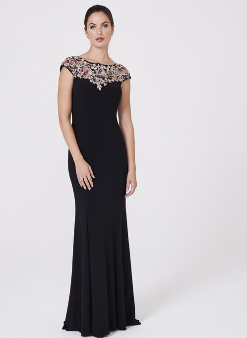 BA Nites - Floral Embroidered Jersey Dress, Black, hi-res