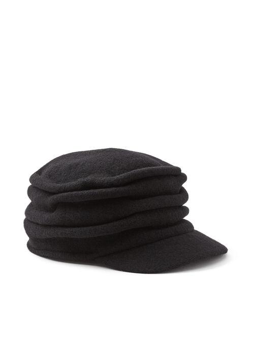 Pleated Wool Cap, Black, hi-res
