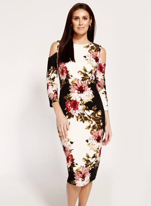 Jax Cold Shoulder Floral Print Dress, Multi, hi-res