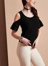 Cold Shoulder Flutter Sleeve Top, Black, hi-res