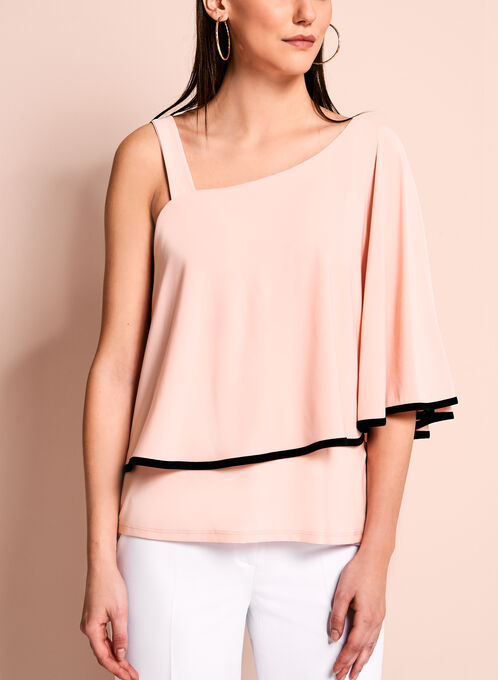 One Shoulder Ruffle Top, Orange, hi-res
