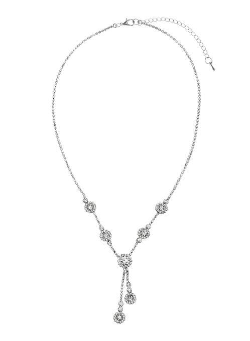 Collier asymétrique avec pendentifs de cristaux, Argent, hi-res