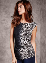 Leopard Print Side Tuck Jersey Blouse, White, hi-res