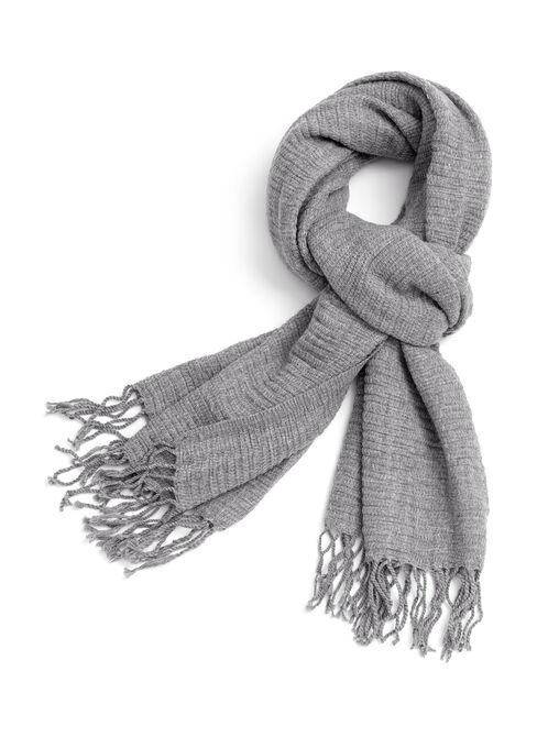 Fringe Knit Scarf , Grey, hi-res