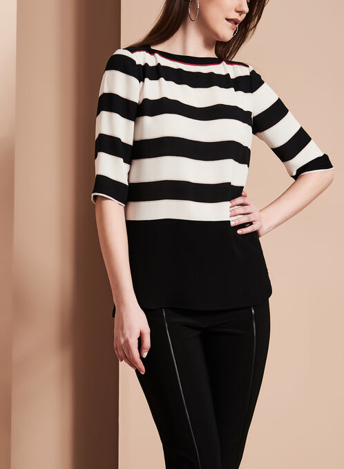 Vex 3/4 Sleeve Stripe Print Blouse, Black, hi-res