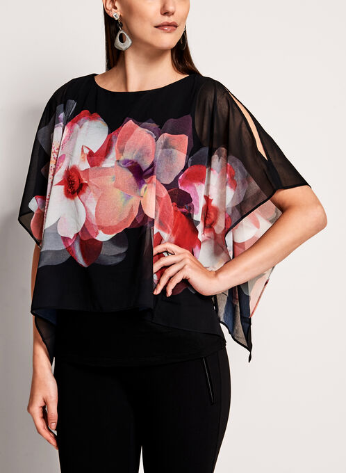 Floral Cold Shoulder Poncho Blouse, Black, hi-res