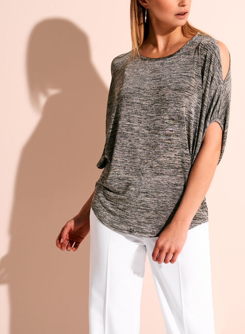 3/4 Dolman Sleeve Cold Shoulder Top, Grey, hi-res