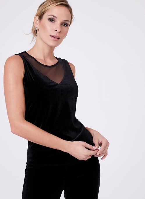 Sleeveless Velvet Top, Black, hi-res