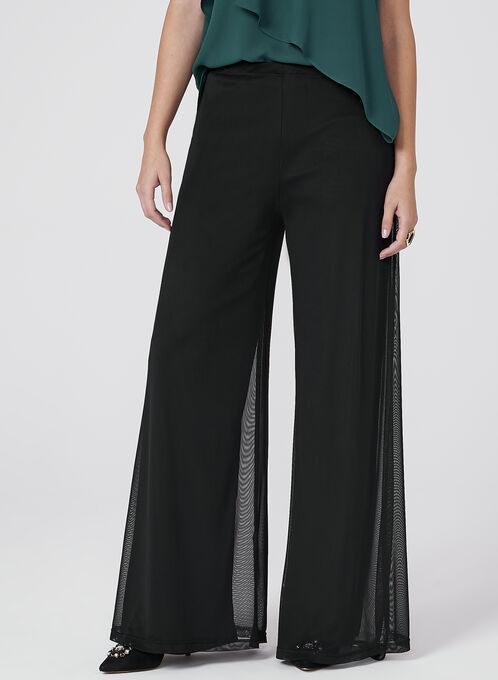 Pull-On Wide Leg Mesh Pants, Black, hi-res