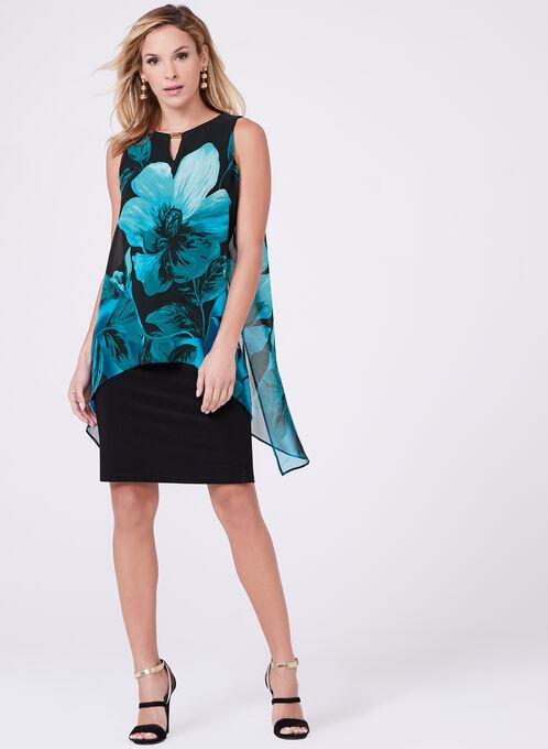 Frank Lyman - Asymmetric Floral Print Dress, Black, hi-res