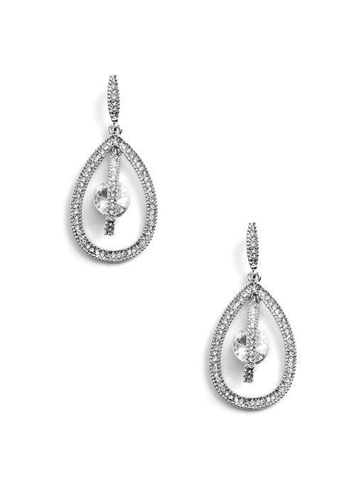 Crystal Teardrop Earrings , Silver, hi-res