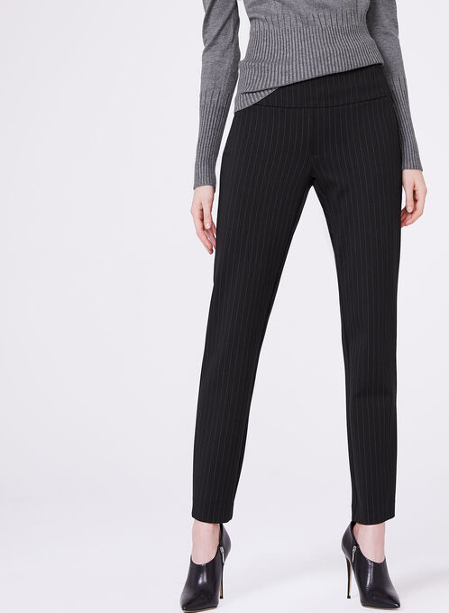 Stripe Print Slim Leg Pants, Black, hi-res