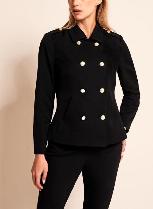 Double Breasted Military Jacket, Black, hi-res
