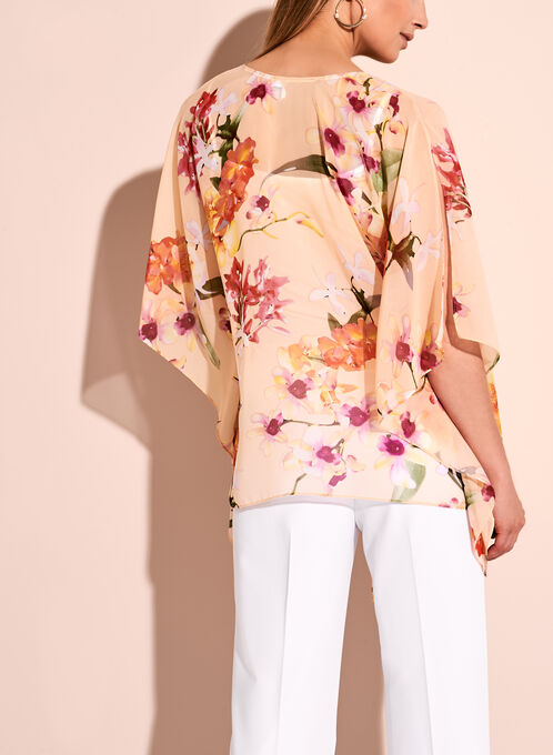Floral Print Poncho Blouse, Red, hi-res