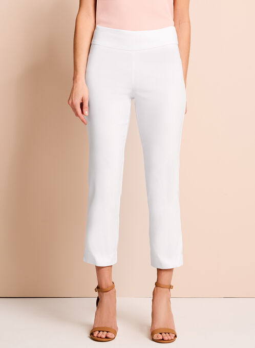 Pull-On Stretch Capri Pants, White, hi-res