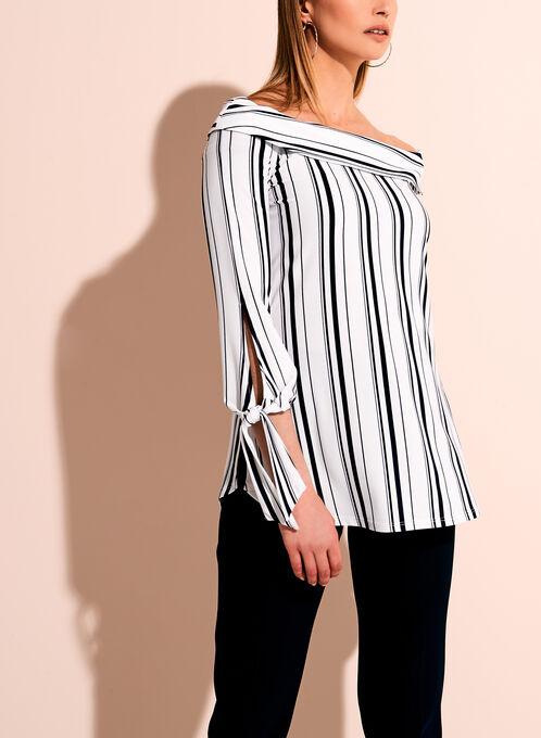 Off The Shoulder Stripe Print Blouse, White, hi-res