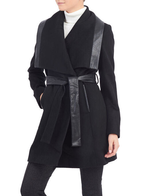 French Connection Wool Coat, Black, hi-res