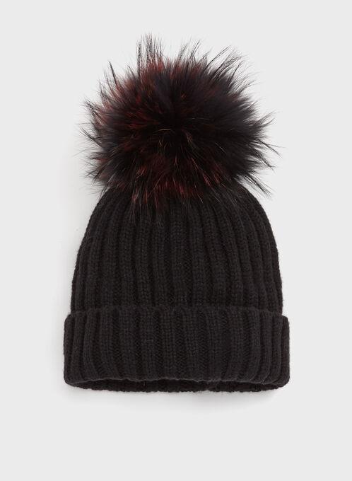 Fur Pompom Knit Hat, Black, hi-res