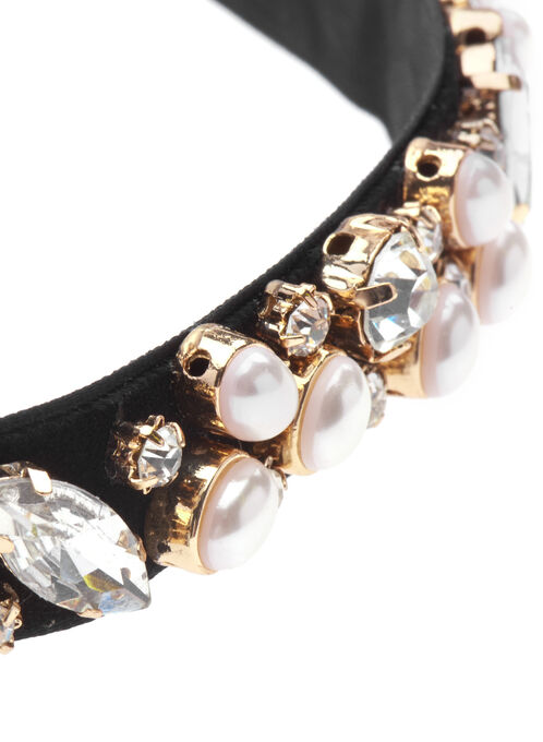 Stone & Pearl Velvet Choker Necklace, Off White, hi-res
