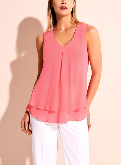 Frank Lyman Sleeveless V-Neck Blouse, Pink, hi-res