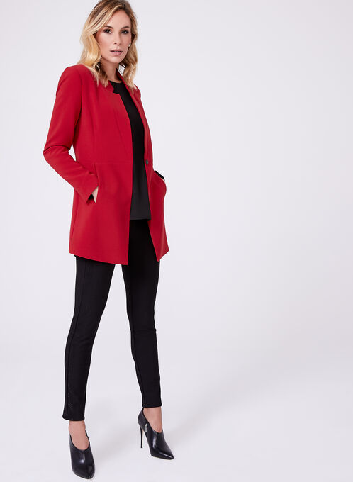 Long Notch Collar Blazer, Red, hi-res