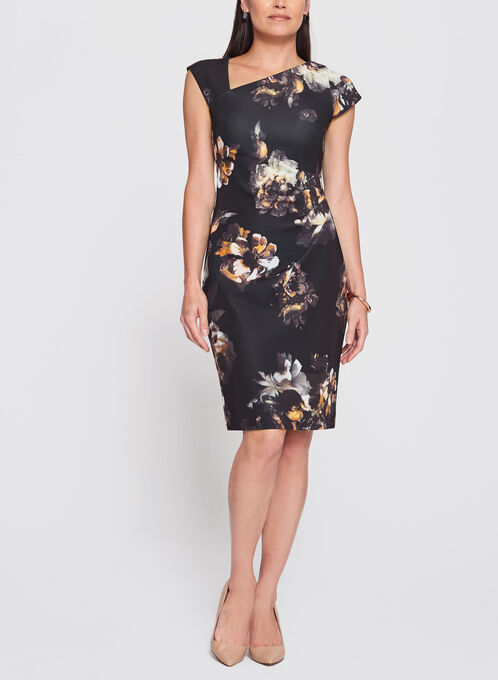 Floral Print Scuba Dress, Black, hi-res