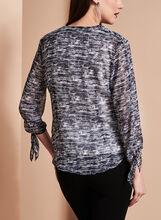 3/4 Sleeve Drape Front Blouse, Blue, hi-res