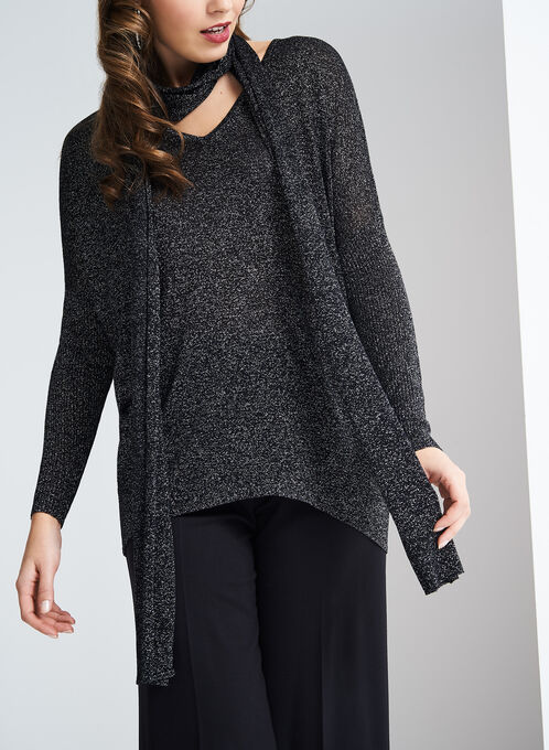 Lurex Sweater with Scarf, Black, hi-res