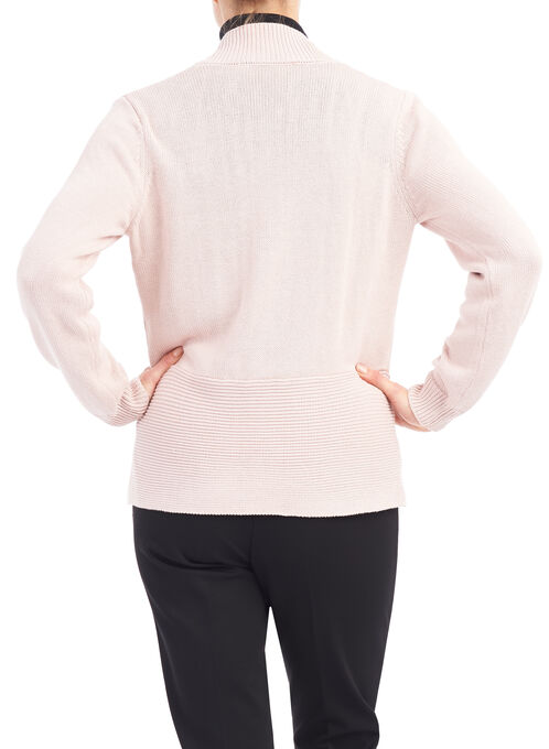 Zip Detail Knit Cardigan , Pink, hi-res