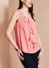 Sleeveless Ruffle Front Blouse , , hi-res