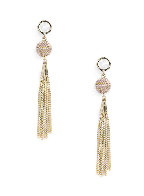 Ball & Chain Tassel Earrings, Pink, hi-res