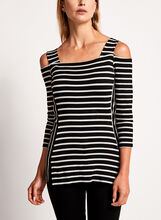 Cold Shoulder Stripe Print Top, , hi-res