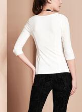 V-Neck Asymmetric Tunic Top, Off White, hi-res