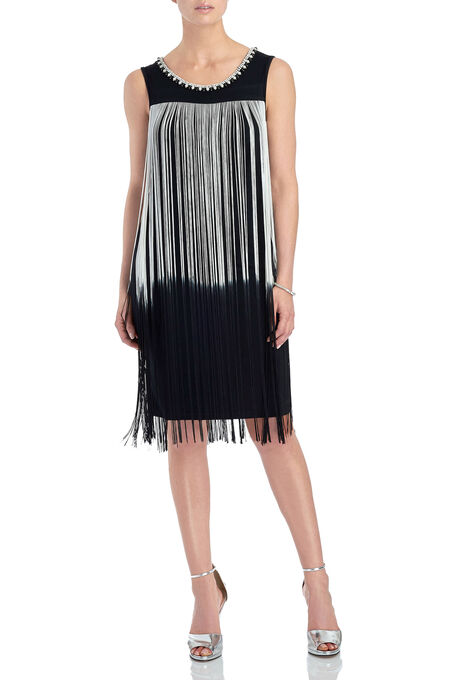 Frank Lyman Jewelled Fringe Dress, Black, hi-res