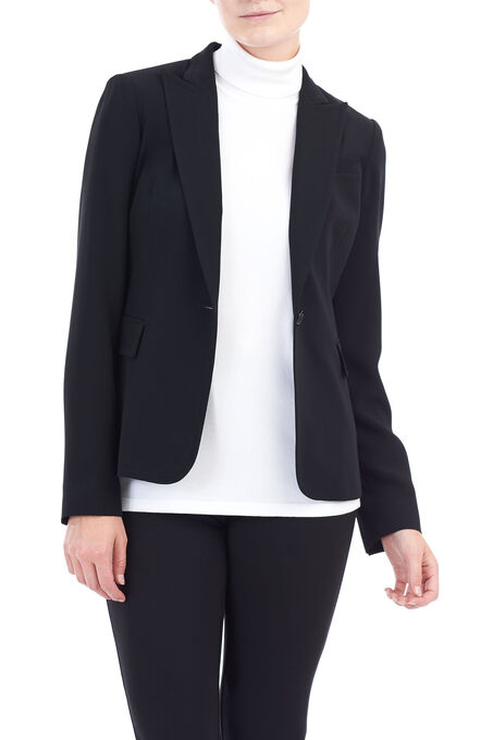 Louben Notch Collar Blazer, Black, hi-res