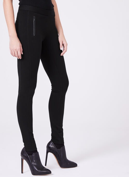 Faux Leather Trim Leggings , Black, hi-res