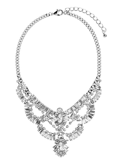 Multi Row Jewelled Necklace, Silver, hi-res