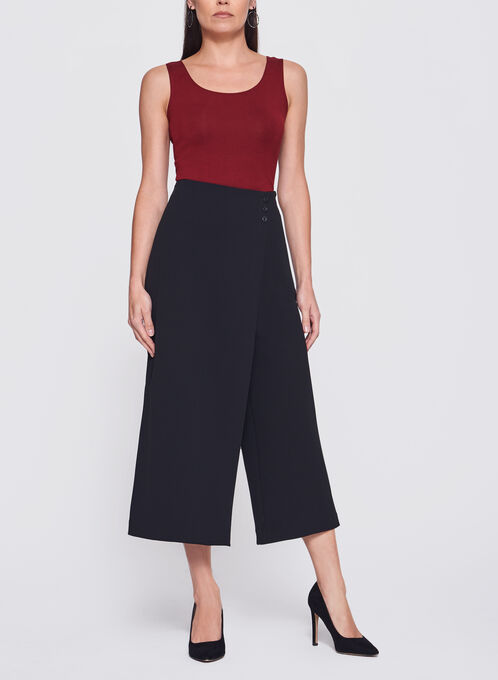 Faux-Wrap Culotte Pants, Black, hi-res
