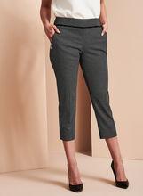 Dot Print Faux Leather Trim Capri Pants, Black, hi-res
