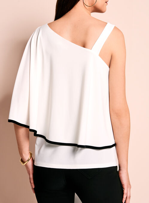 One Shoulder Ruffle Top, Black, hi-res