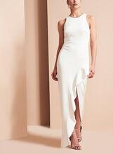 Crêpe Asymmetric Ruffle Gown, Off White, hi-res