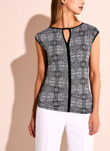 Sleeveless Graphic Print Keyhole Top, , hi-res