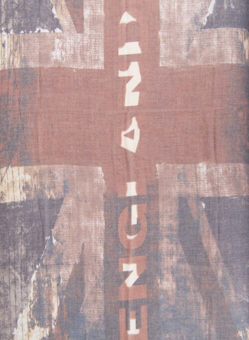 English Flag Print Scarf, Brown, hi-res