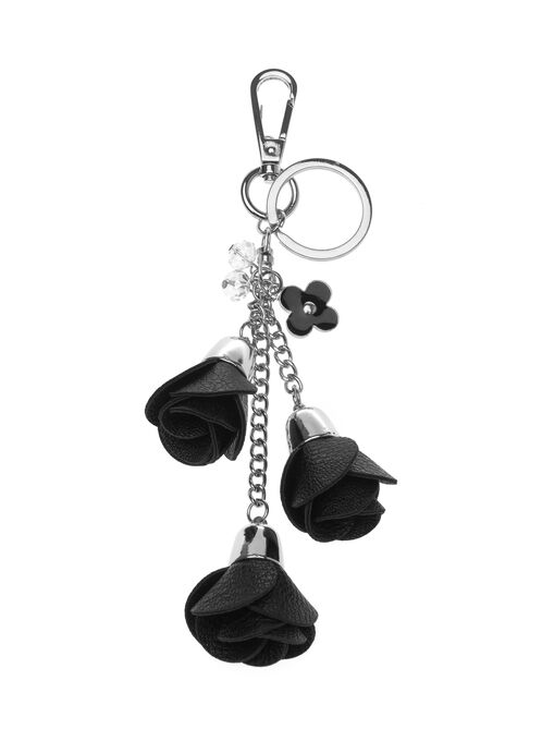 Triple Rosette Key Chain, Black, hi-res