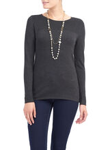 Long Sleeve Ribbed Knit Top, Grey, hi-res